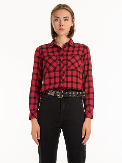 Plaid cotton shirt with chest pockets