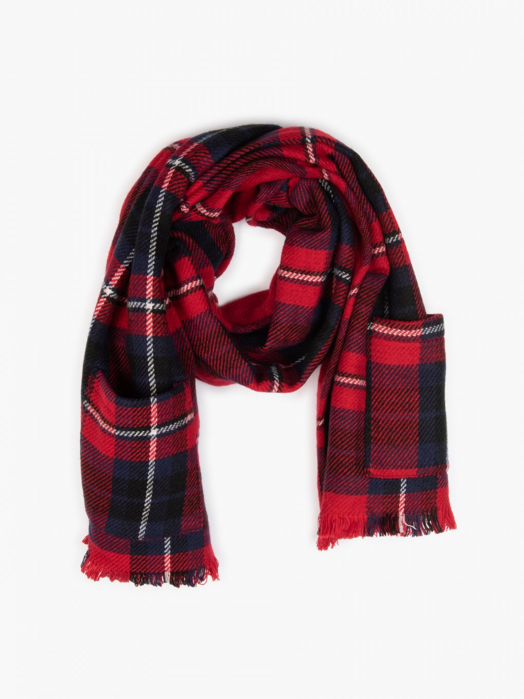 Plaid scarf with pockets