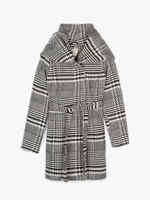 Károvaný kabát s kapucňou