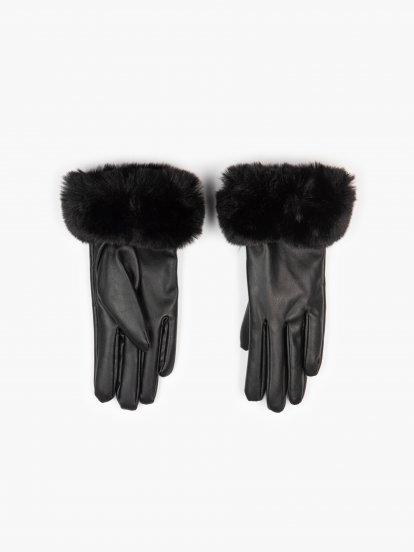 Koženkové dámské rukavice s kožešinou