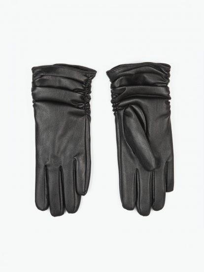 Koženkové rukavice dámské