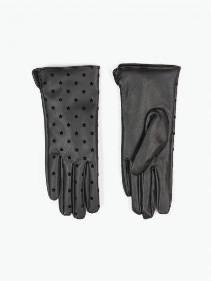 Koženkové rukavice dámské s hvězdičkami