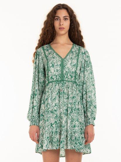 Květinové viskózové šaty s véčkovým výstřihem a dlouhým rukávem dámské