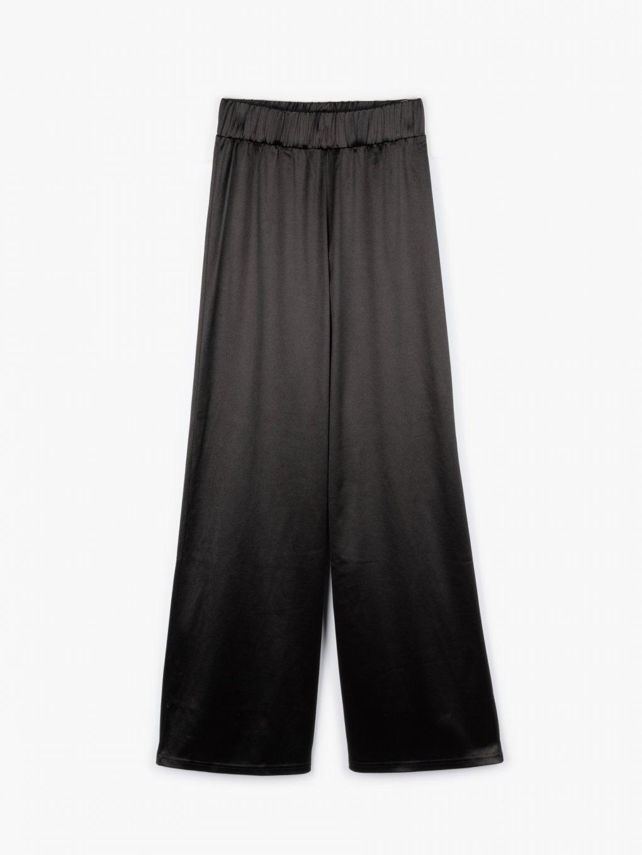 Lesklé široké dámské kalhoty