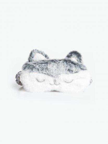 Maska na spanie z umelej kožušiny so saténovou zadnou časťou