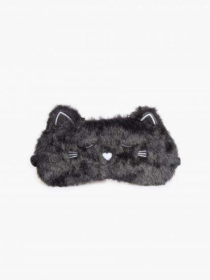 Maska na spanie z umelej kožušiny so saténovou zadnou časťou v tvare mačky