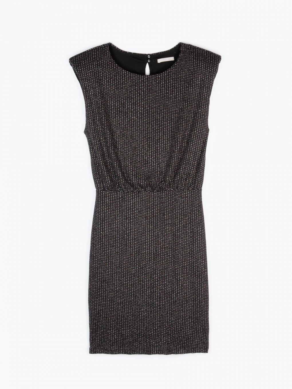 Metalické mini šaty bez rukávů s ramenními vycpávkami dámské