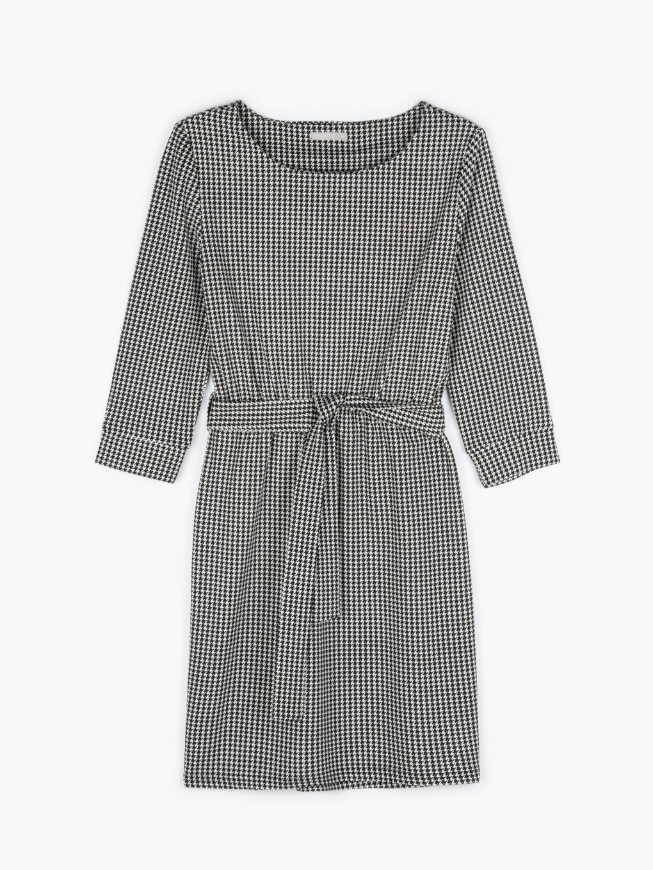 Mini šaty s pepitová vzorem, kulatým výstřihem a 3/4 rukávem dámské