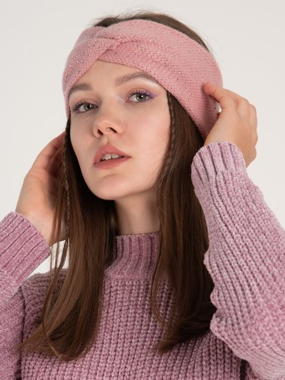 Knitted headband with decorative stones