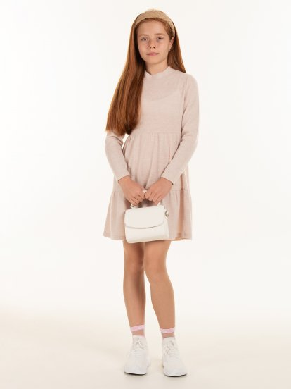 Knitted long sleeve dress with ruffles