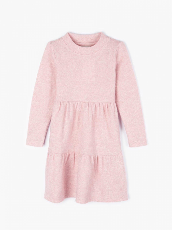 Knitted long sleeve dress wirh ruffles