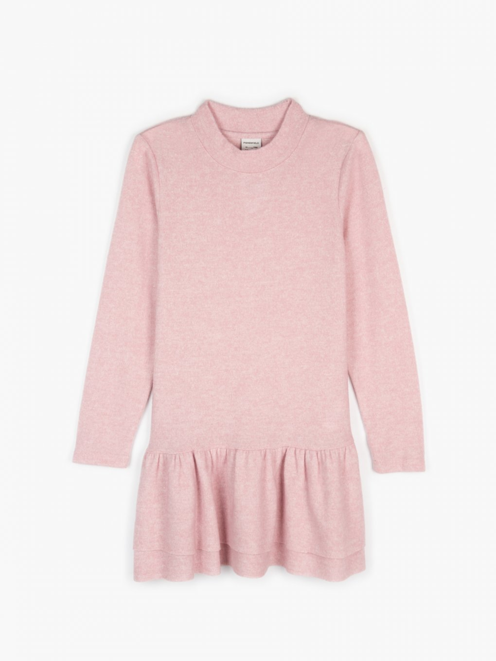 Knitted long sleeve dress with ruffle