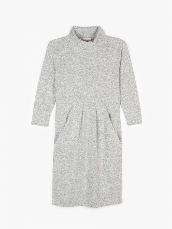 Pletené rolákové šaty s kapsami dámské