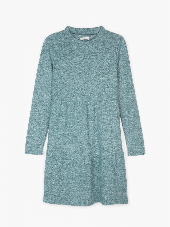 Pletené šaty s dlouhým rukávem a volány dámské