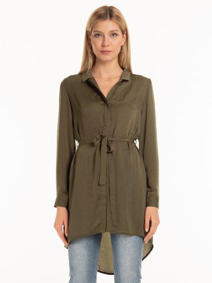 Longline belted saten blouse