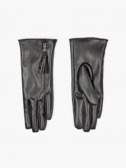 Rukavice z umělé kůže se zipem dámské