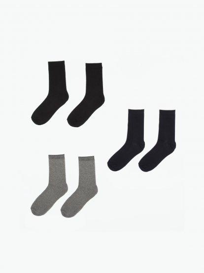 Sada troch párov pánskych ponožiek z bambusovej zmesi
