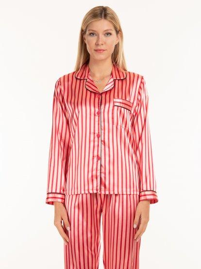 Saténová proužkovaná pyžamová dámská košile