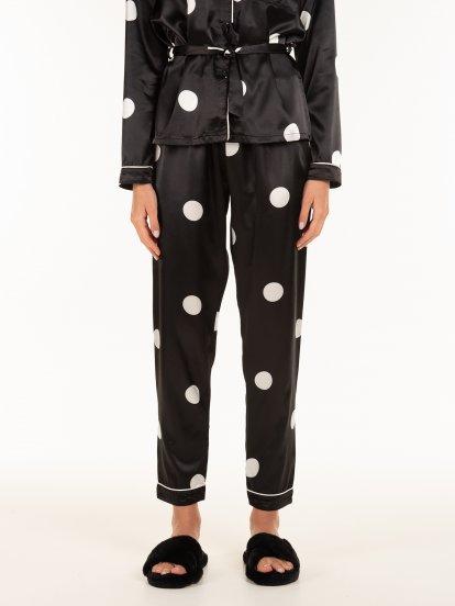 Saténové puntíkované dámské pyžamo