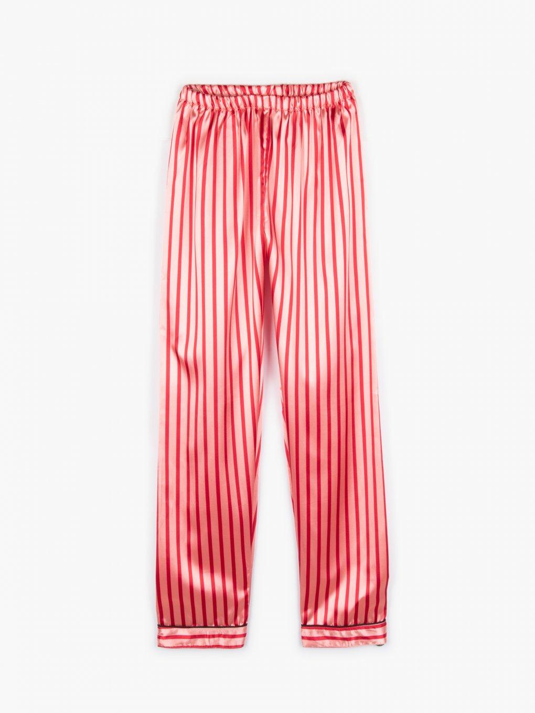 Saténové proužkované pyžamové dámské kalhoty