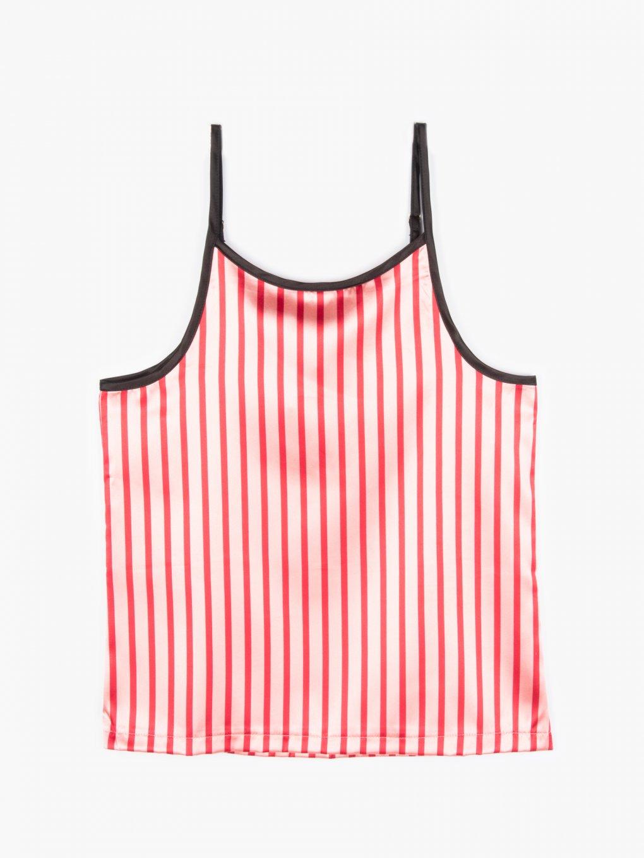 Saténové proužkovaný pyžamový dámský top na ramínka