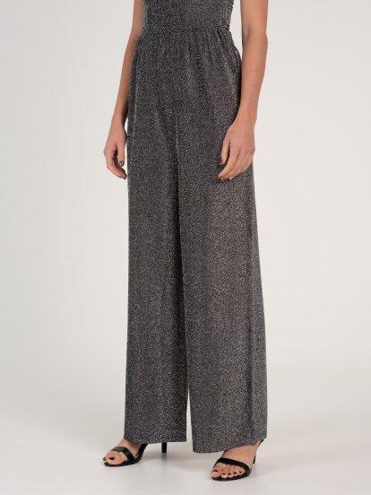 Wide pants with metallic fibre