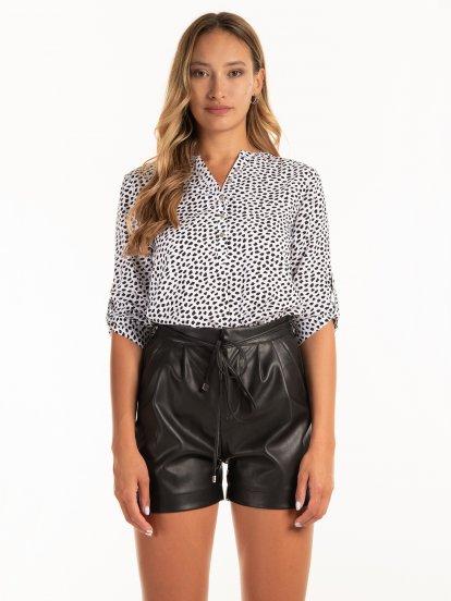 3/4 sleeve patterned viscose blouse