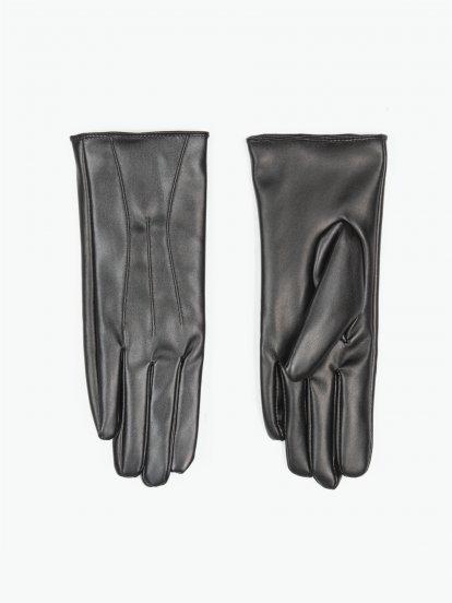 Základní basic rukavice z umělé kůže dámské