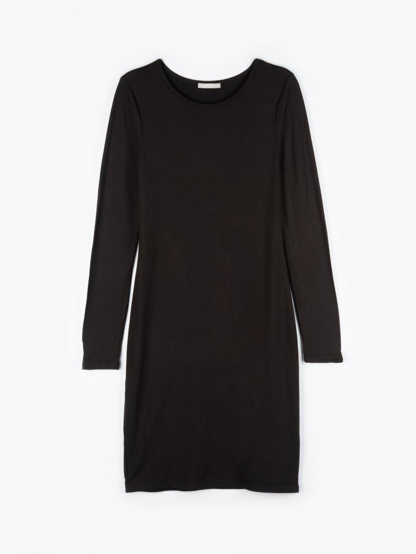 Základní basic šaty s dlouhým rukávem dámské