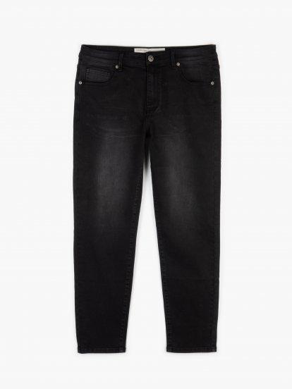 Základní pánské džínsy straight slim fit na zip