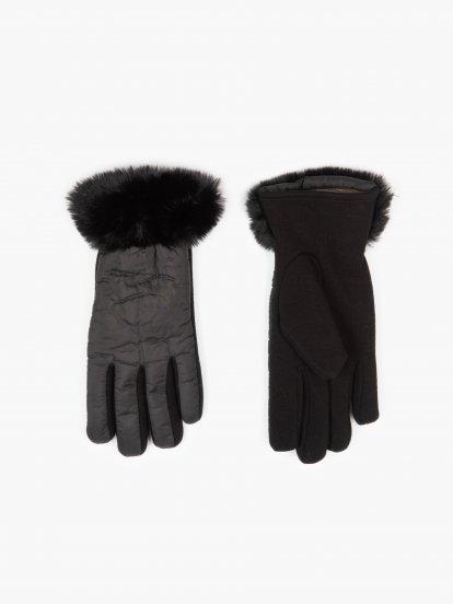 Zimní rukavice s umělou kožešinou dámské
